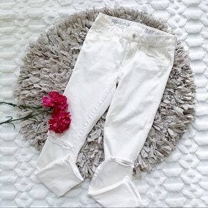 Madewell Distressed Knee Skinny Ankle White Jeans